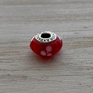 Authentic PANDORA Red Flower Murano Glass Bead